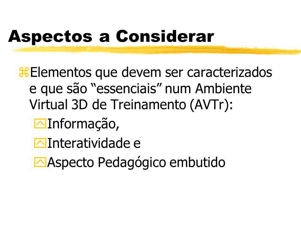 Aspectos a Considerar zElementos que devem ser caracterizados e que são essenciais num Ambiente Virtual 3D de Treinamento (AVTr): y Informação, y Inte