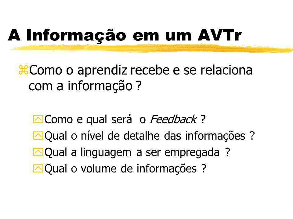 A Informação em um AVTr zComo o aprendiz recebe e se relaciona com a informação ? yComo e qual será o Feedback ? yQual o nível de detalhe das informaç