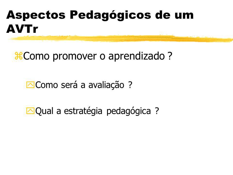 Aspectos Pedagógicos de um AVTr zComo promover o aprendizado ? yComo será a avaliação ? yQual a estratégia pedagógica ?
