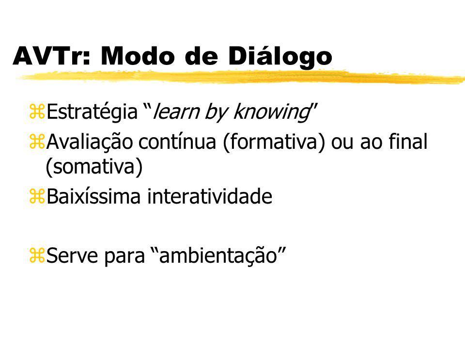 AVTr: Modo de Diálogo zEstratégia learn by knowing zAvaliação contínua (formativa) ou ao final (somativa) zBaixíssima interatividade zServe para ambie
