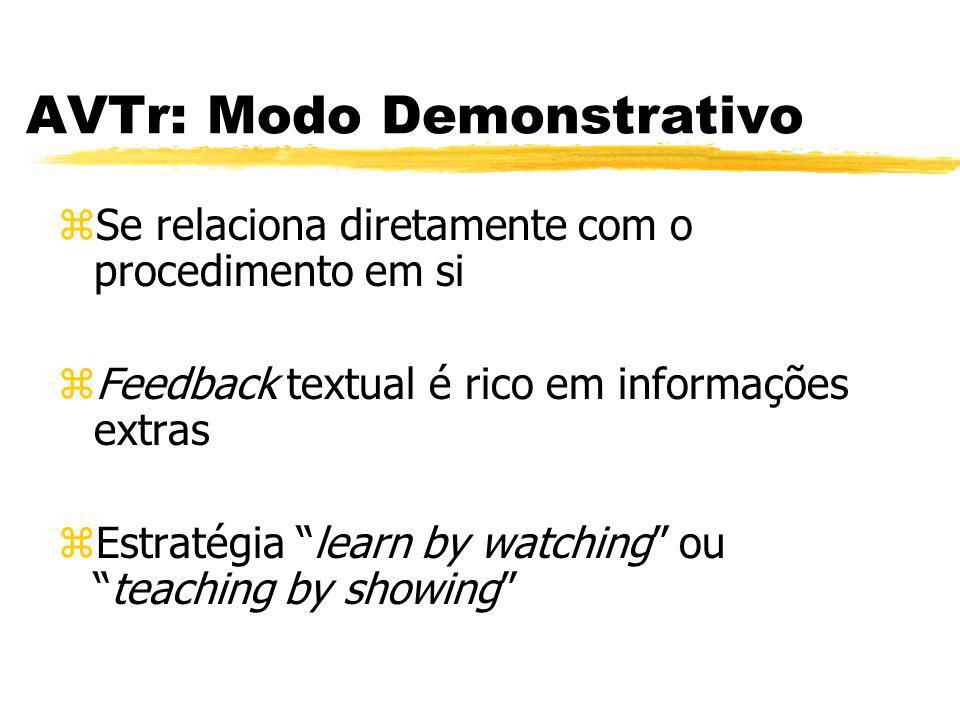 AVTr: Modo Demonstrativo zSe relaciona diretamente com o procedimento em si zFeedback textual é rico em informações extras zEstratégia learn by watchi