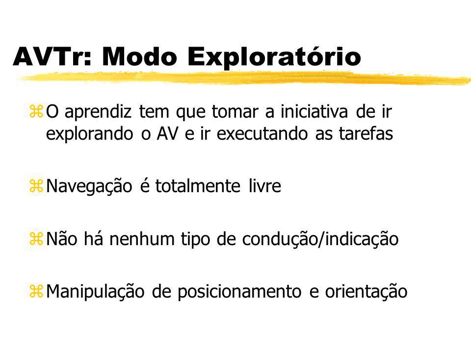 AVTr: Modo Exploratório zO aprendiz tem que tomar a iniciativa de ir explorando o AV e ir executando as tarefas zNavegação é totalmente livre zNão há
