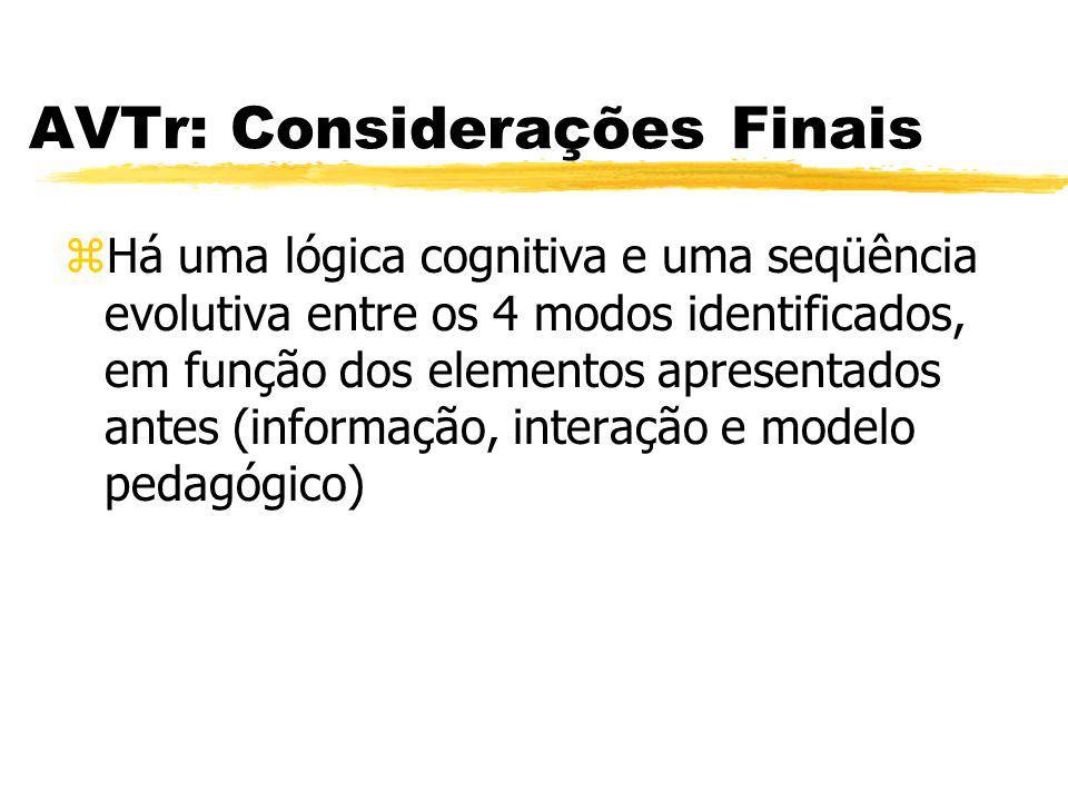 AVTr: Considerações Finais zHá uma lógica cognitiva e uma seqüência evolutiva entre os 4 modos identificados, em função dos elementos apresentados ant