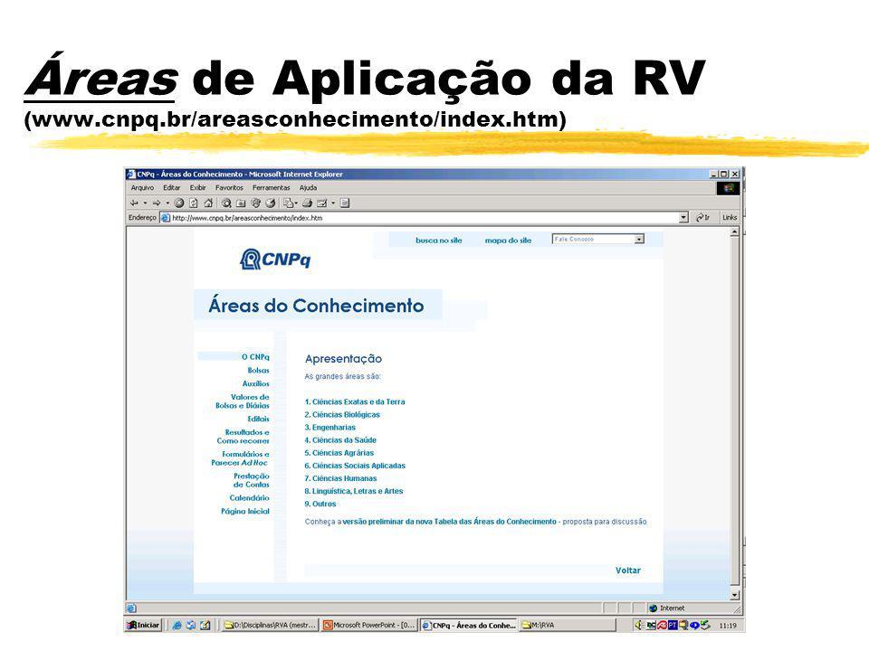 Áreas de Aplicação da RV (www.cnpq.br/areasconhecimento/index.htm)