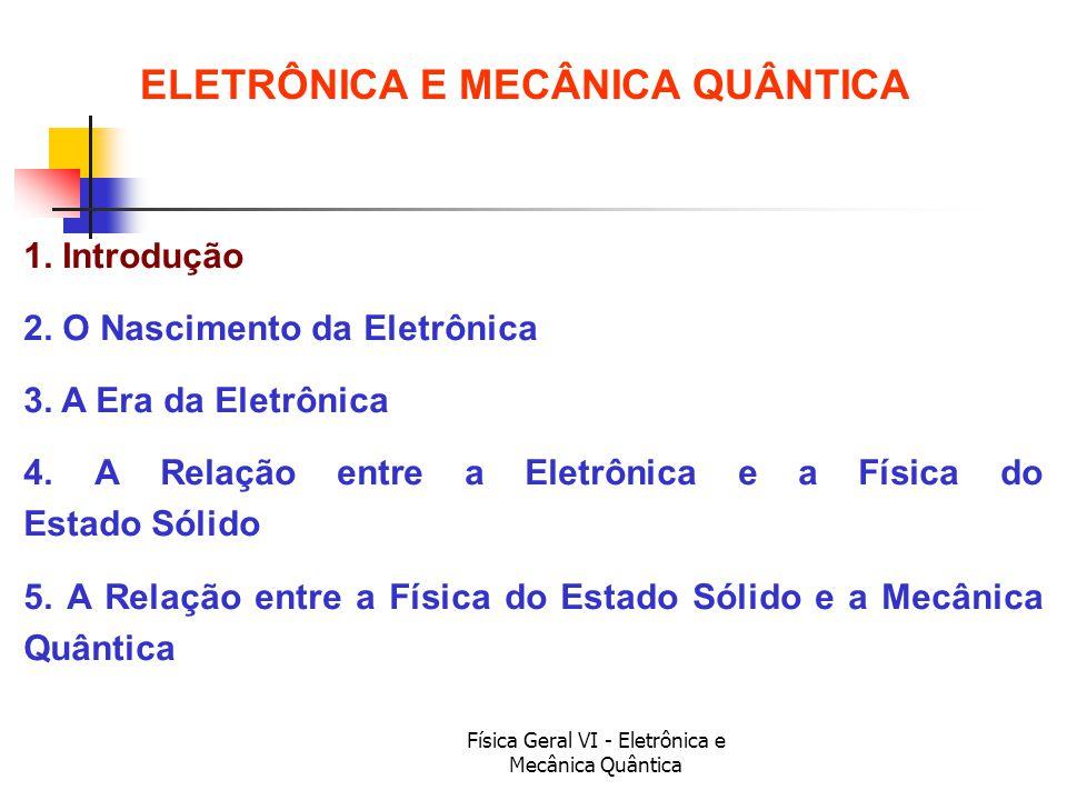 Física Geral VI - Eletrônica e Mecânica Quântica Aplicações ELETRÔNICA E MECÂNICA QUÂNTICA 1.