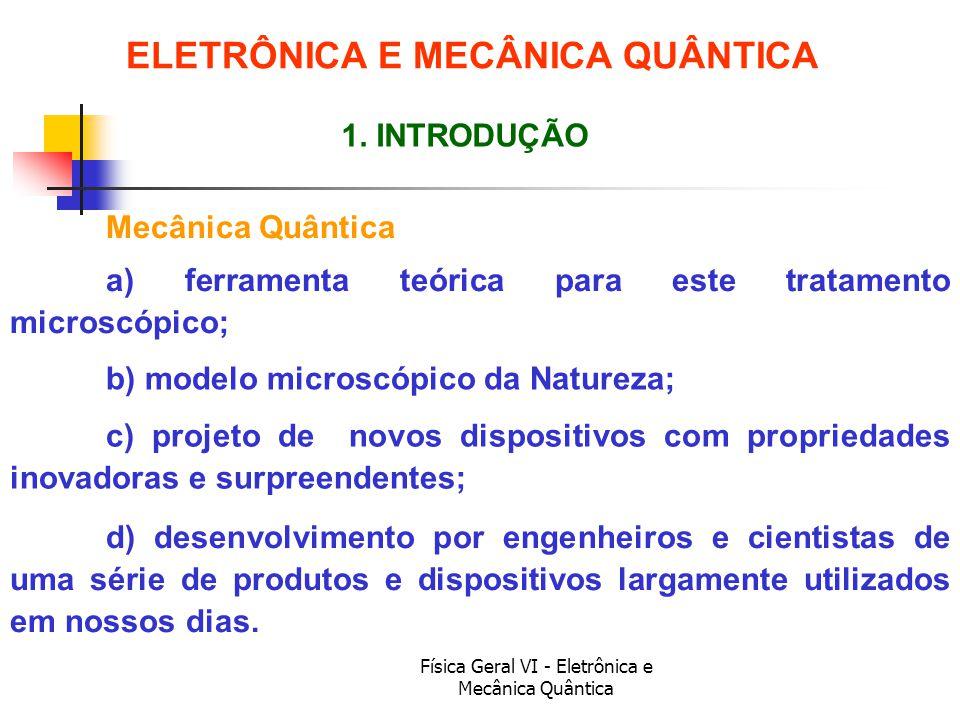 Física Geral VI - Eletrônica e Mecânica Quântica Mecânica Quântica ELETRÔNICA E MECÂNICA QUÂNTICA 1. INTRODUÇÃO a) ferramenta teórica para este tratam