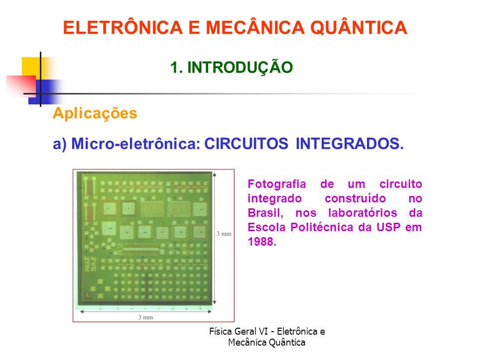 Física Geral VI - Eletrônica e Mecânica Quântica Aplicações ELETRÔNICA E MECÂNICA QUÂNTICA 1. INTRODUÇÃO Fotografia de um circuito integrado construíd