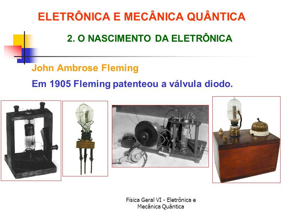 Física Geral VI - Eletrônica e Mecânica Quântica ELETRÔNICA E MECÂNICA QUÂNTICA John Ambrose Fleming 2. O NASCIMENTO DA ELETRÔNICA Em 1905 Fleming pat