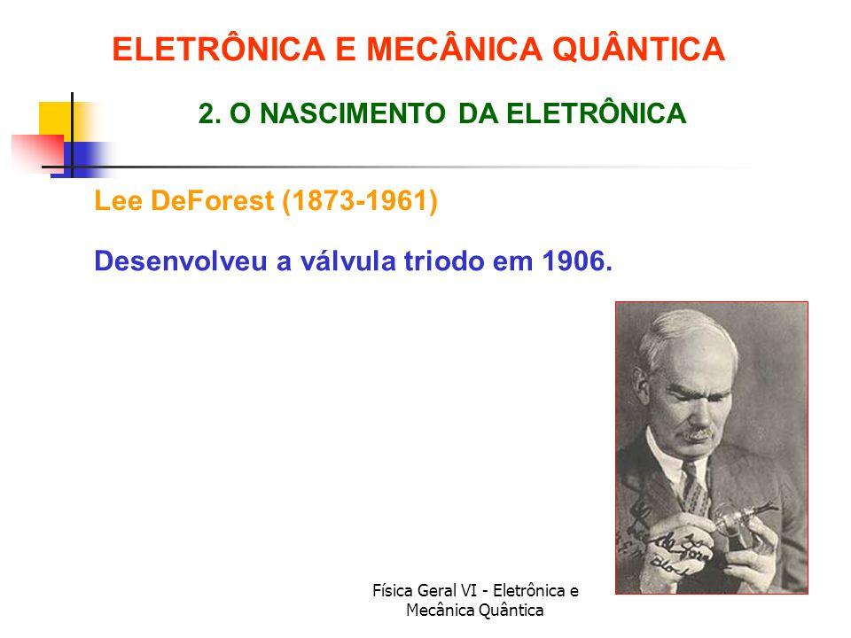 Física Geral VI - Eletrônica e Mecânica Quântica Lee DeForest (1873-1961) ELETRÔNICA E MECÂNICA QUÂNTICA 2. O NASCIMENTO DA ELETRÔNICA Desenvolveu a v