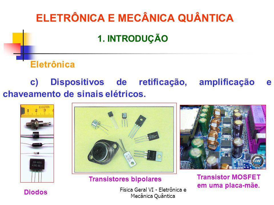 Física Geral VI - Eletrônica e Mecânica Quântica ELETRÔNICA E MECÂNICA QUÂNTICA Eletrônica 1. INTRODUÇÃO c) Dispositivos de retificação, amplificação