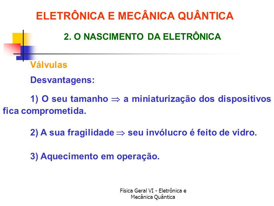 Física Geral VI - Eletrônica e Mecânica Quântica Válvulas ELETRÔNICA E MECÂNICA QUÂNTICA 2. O NASCIMENTO DA ELETRÔNICA Desvantagens: 1) O seu tamanho