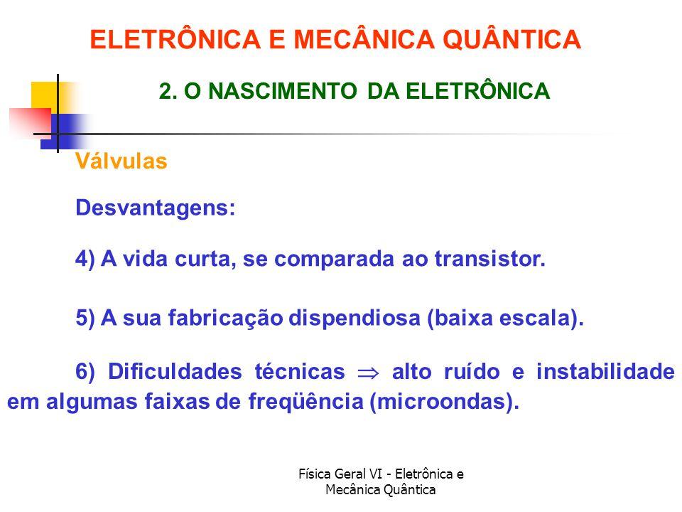 Física Geral VI - Eletrônica e Mecânica Quântica Válvulas ELETRÔNICA E MECÂNICA QUÂNTICA 2. O NASCIMENTO DA ELETRÔNICA Desvantagens: 4) A vida curta,