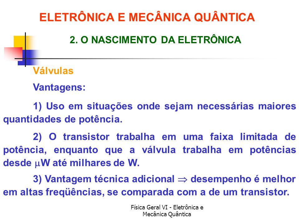 Física Geral VI - Eletrônica e Mecânica Quântica Válvulas ELETRÔNICA E MECÂNICA QUÂNTICA 2. O NASCIMENTO DA ELETRÔNICA Vantagens: 2) O transistor trab