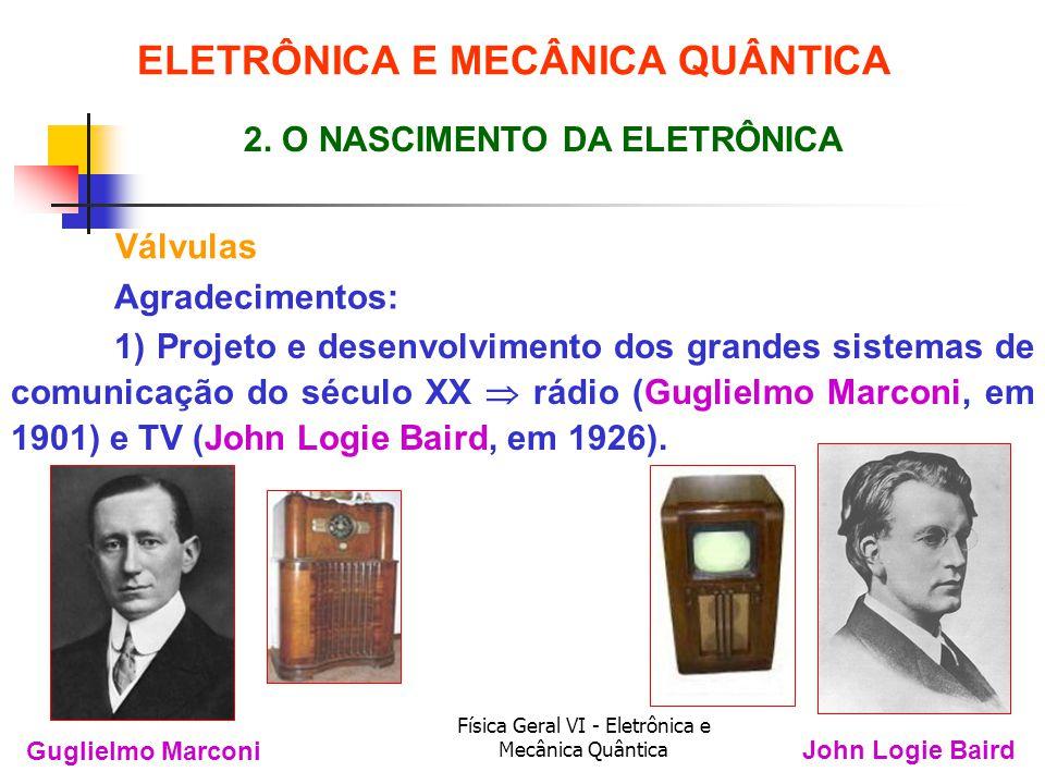 Física Geral VI - Eletrônica e Mecânica Quântica Válvulas ELETRÔNICA E MECÂNICA QUÂNTICA 2. O NASCIMENTO DA ELETRÔNICA Guglielmo Marconi John Logie Ba