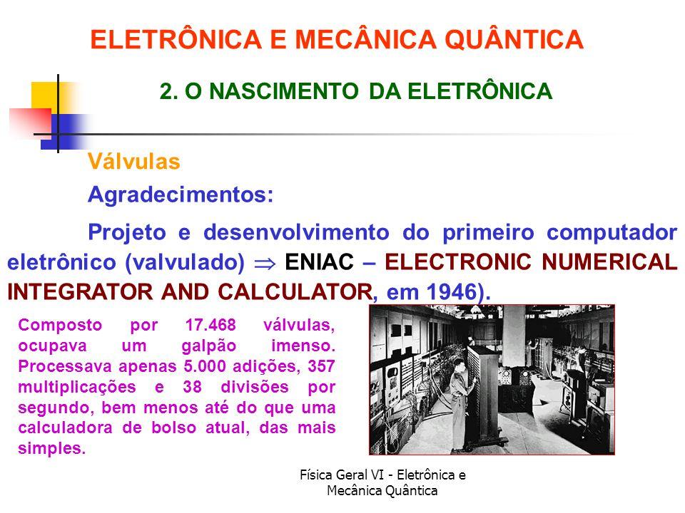 Física Geral VI - Eletrônica e Mecânica Quântica Válvulas ELETRÔNICA E MECÂNICA QUÂNTICA Composto por 17.468 válvulas, ocupava um galpão imenso. Proce