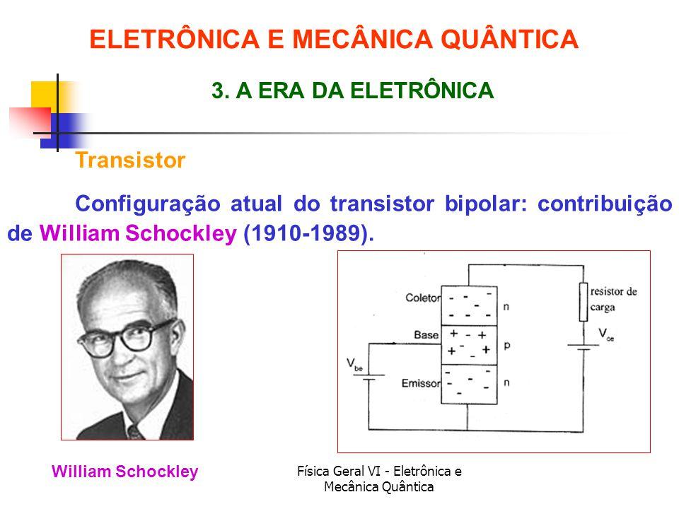 Física Geral VI - Eletrônica e Mecânica Quântica Transistor ELETRÔNICA E MECÂNICA QUÂNTICA 3. A ERA DA ELETRÔNICA William Schockley Configuração atual