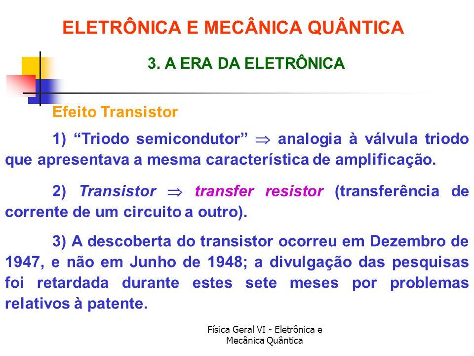 Física Geral VI - Eletrônica e Mecânica Quântica Efeito Transistor ELETRÔNICA E MECÂNICA QUÂNTICA 3. A ERA DA ELETRÔNICA 1) Triodo semicondutor analog