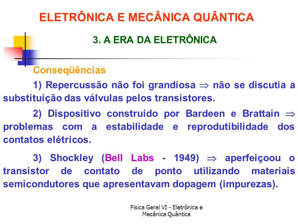 Física Geral VI - Eletrônica e Mecânica Quântica Conseqüências ELETRÔNICA E MECÂNICA QUÂNTICA 3. A ERA DA ELETRÔNICA 1) Repercussão não foi grandiosa