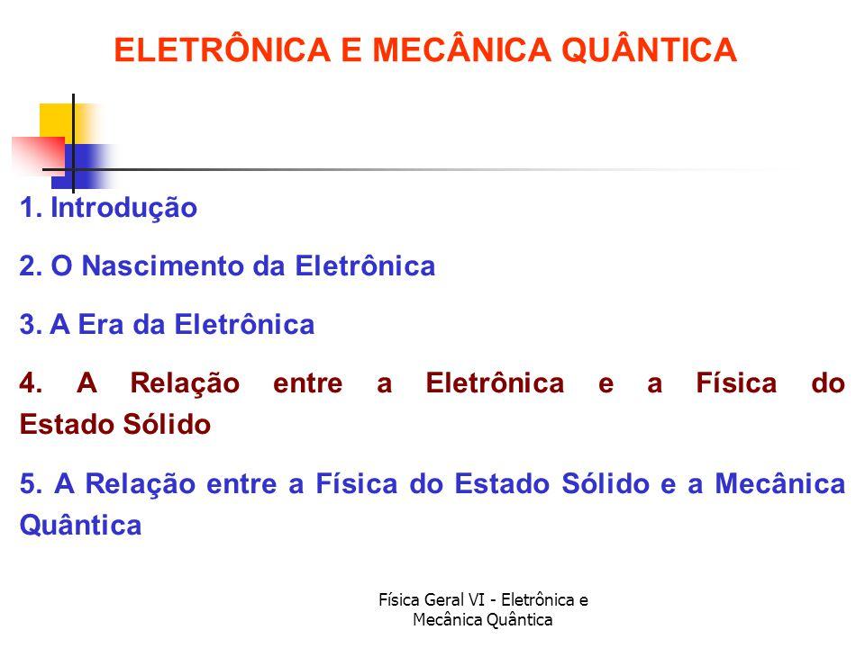 Física Geral VI - Eletrônica e Mecânica Quântica ELETRÔNICA E MECÂNICA QUÂNTICA 1. Introdução 2. O Nascimento da Eletrônica 3. A Era da Eletrônica 4.