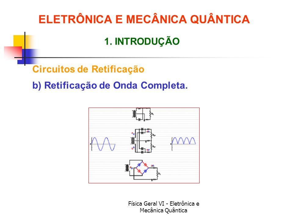 Física Geral VI - Eletrônica e Mecânica Quântica Circuitos de Retificação ELETRÔNICA E MECÂNICA QUÂNTICA 1. INTRODUÇÃO b) Retificação de Onda Completa