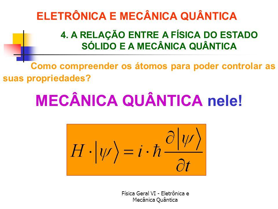 Física Geral VI - Eletrônica e Mecânica Quântica ELETRÔNICA E MECÂNICA QUÂNTICA Como compreender os átomos para poder controlar as suas propriedades?