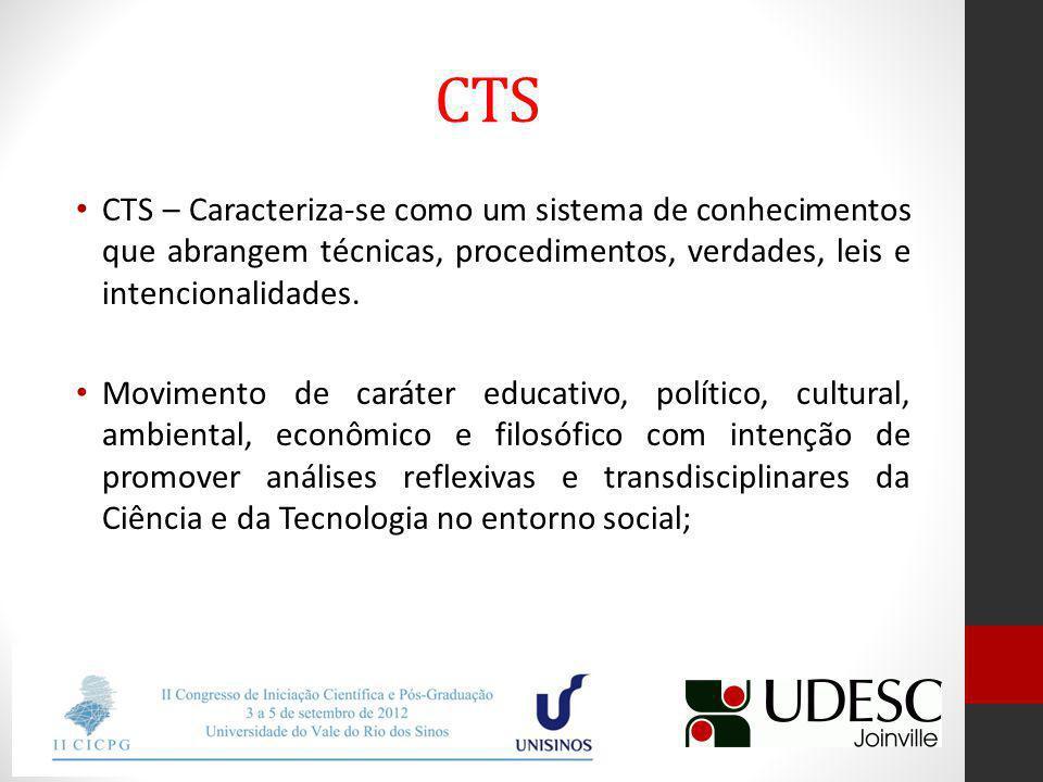 CTS CTS – Caracteriza-se como um sistema de conhecimentos que abrangem técnicas, procedimentos, verdades, leis e intencionalidades.