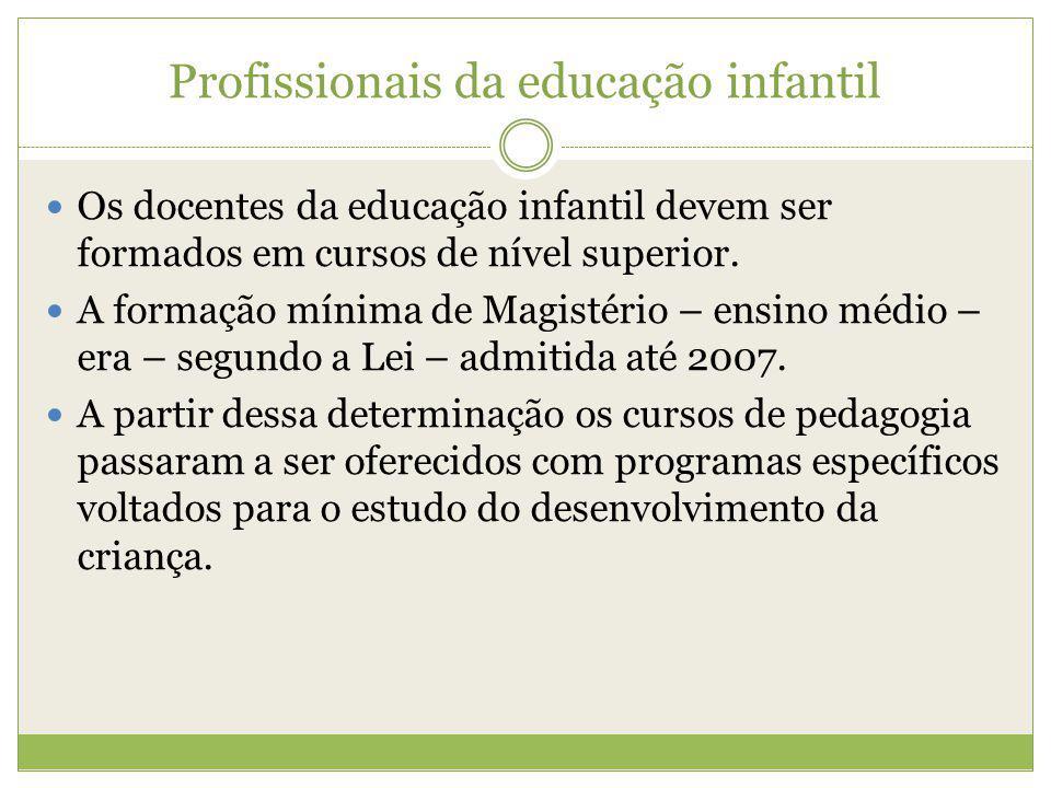 Profissionais da educação infantil Os docentes da educação infantil devem ser formados em cursos de nível superior. A formação mínima de Magistério –