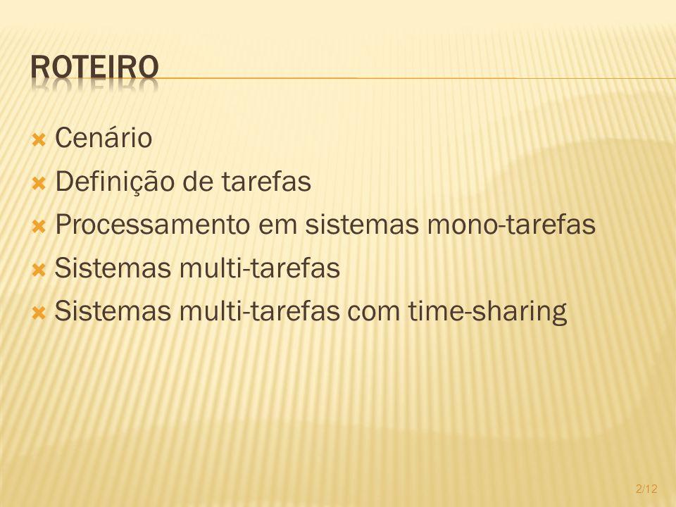 Cenário Definição de tarefas Processamento em sistemas mono-tarefas Sistemas multi-tarefas Sistemas multi-tarefas com time-sharing 2/12