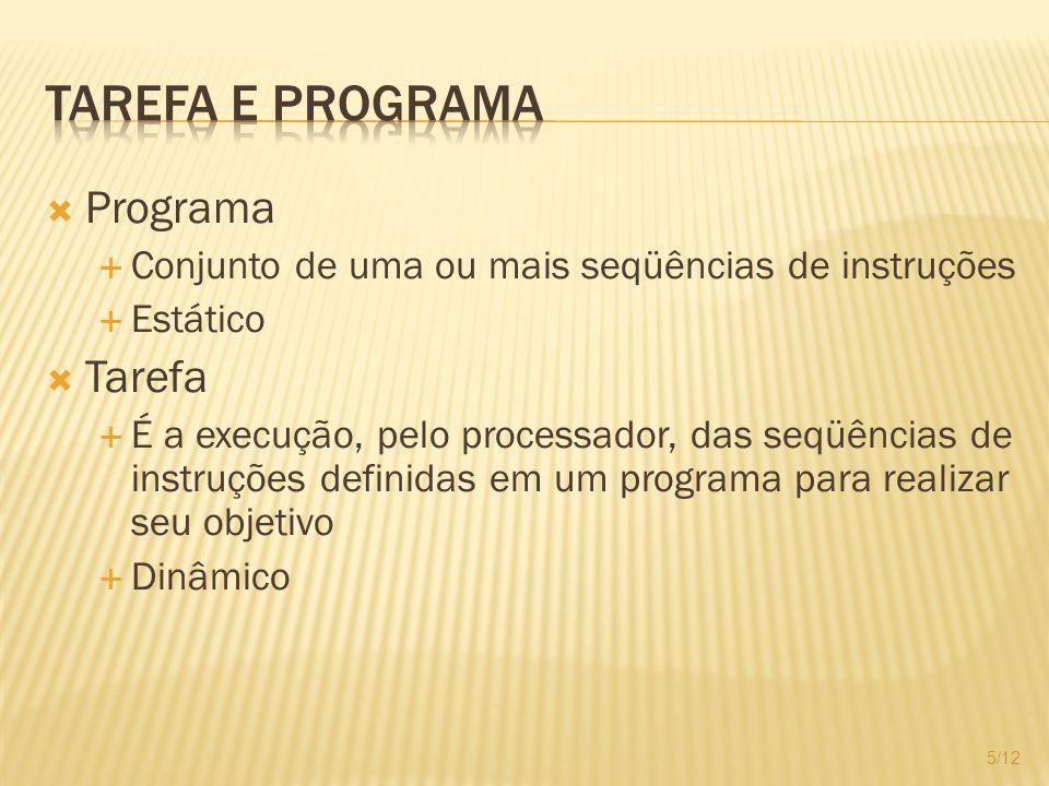 Programa Conjunto de uma ou mais seqüências de instruções Estático Tarefa É a execução, pelo processador, das seqüências de instruções definidas em um programa para realizar seu objetivo Dinâmico 5/12