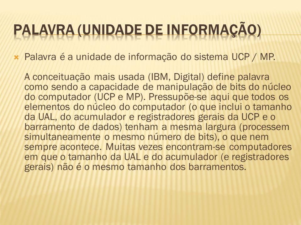 Palavra é a unidade de informação do sistema UCP / MP. A conceituação mais usada (IBM, Digital) define palavra como sendo a capacidade de manipulação