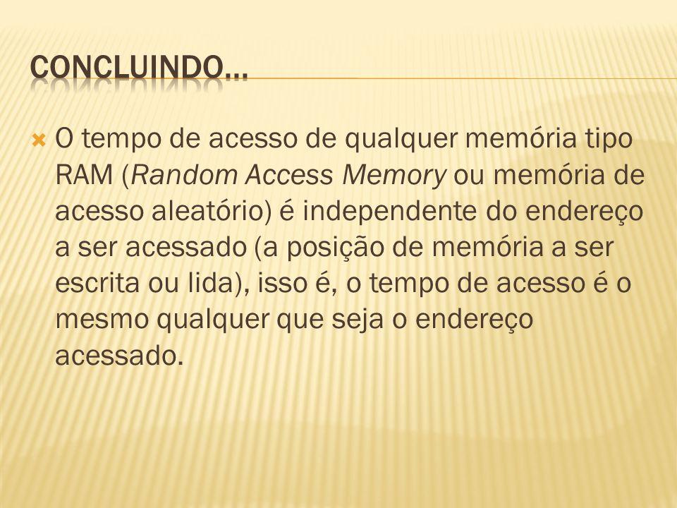 O tempo de acesso de qualquer memória tipo RAM (Random Access Memory ou memória de acesso aleatório) é independente do endereço a ser acessado (a posi