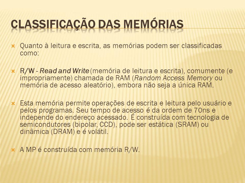 Quanto à leitura e escrita, as memórias podem ser classificadas como: R/W - Read and Write (memória de leitura e escrita), comumente (e impropriamente