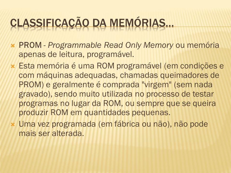 PROM - Programmable Read Only Memory ou memória apenas de leitura, programável. Esta memória é uma ROM programável (em condições e com máquinas adequa