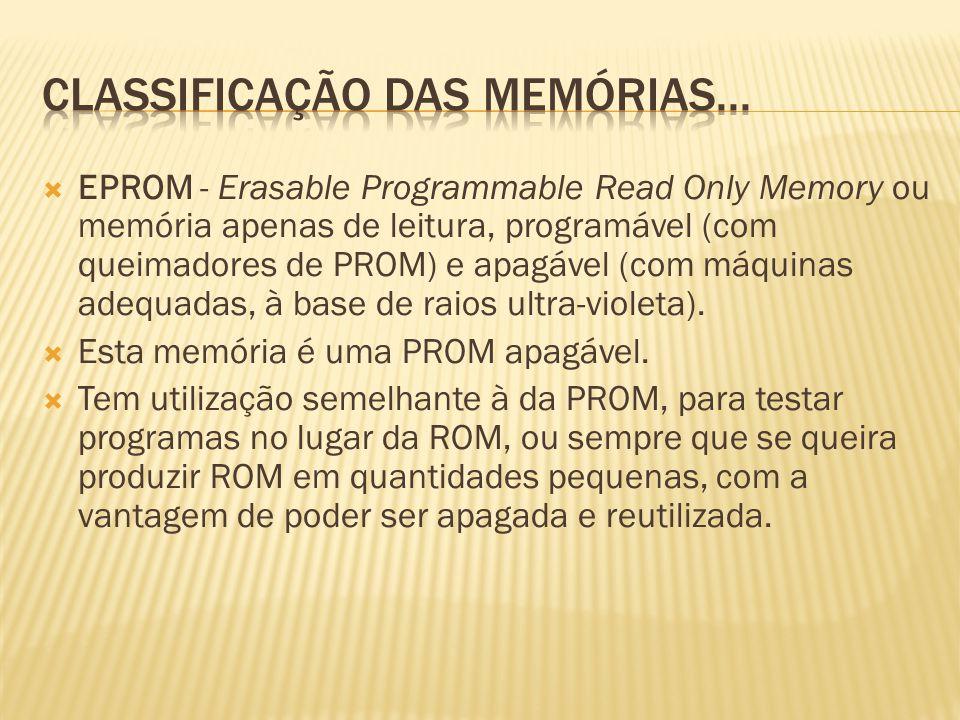 EPROM - Erasable Programmable Read Only Memory ou memória apenas de leitura, programável (com queimadores de PROM) e apagável (com máquinas adequadas,