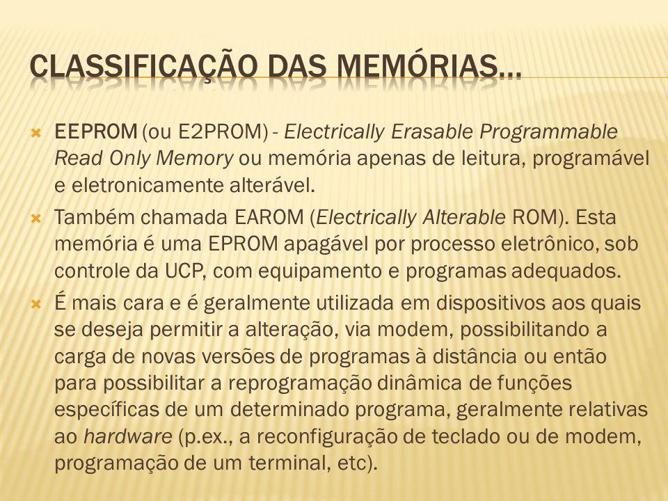 EEPROM (ou E2PROM) - Electrically Erasable Programmable Read Only Memory ou memória apenas de leitura, programável e eletronicamente alterável. Também