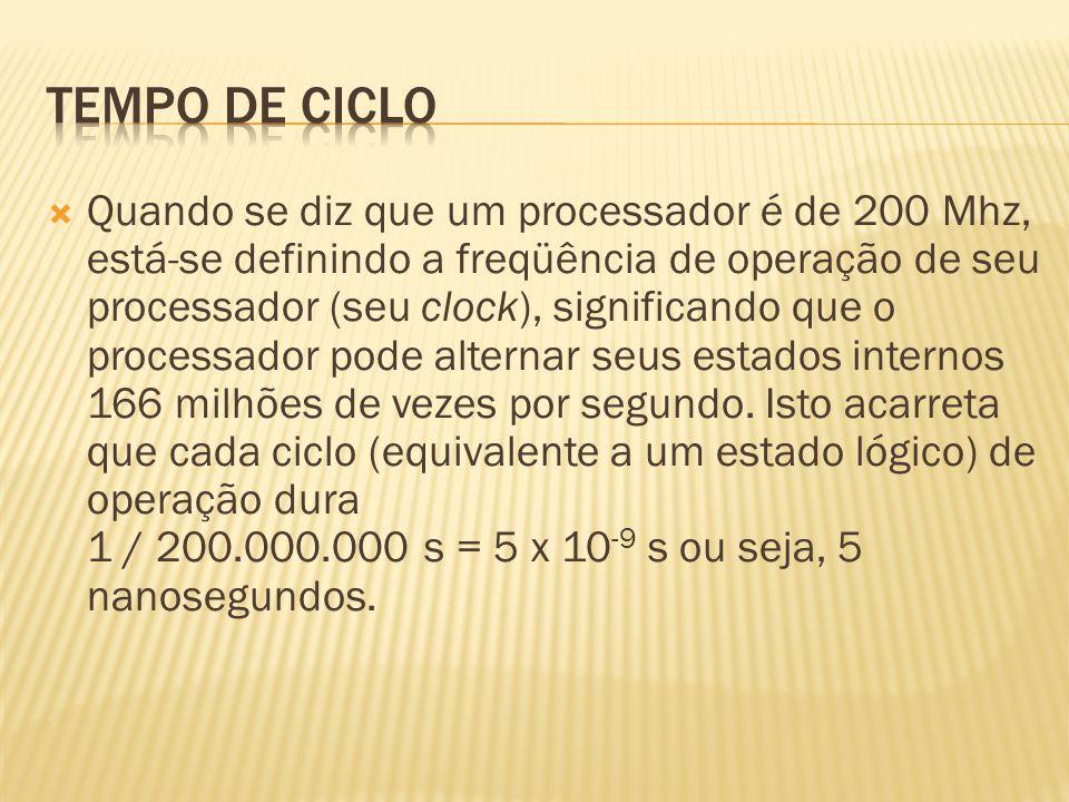 Quando se diz que um processador é de 200 Mhz, está-se definindo a freqüência de operação de seu processador (seu clock), significando que o processad