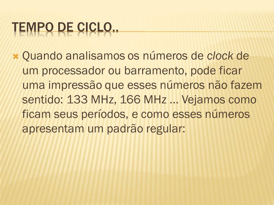 Quando analisamos os números de clock de um processador ou barramento, pode ficar uma impressão que esses números não fazem sentido: 133 MHz, 166 MHz.