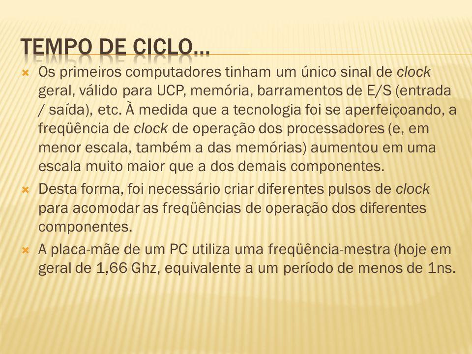 Os primeiros computadores tinham um único sinal de clock geral, válido para UCP, memória, barramentos de E/S (entrada / saída), etc. À medida que a te