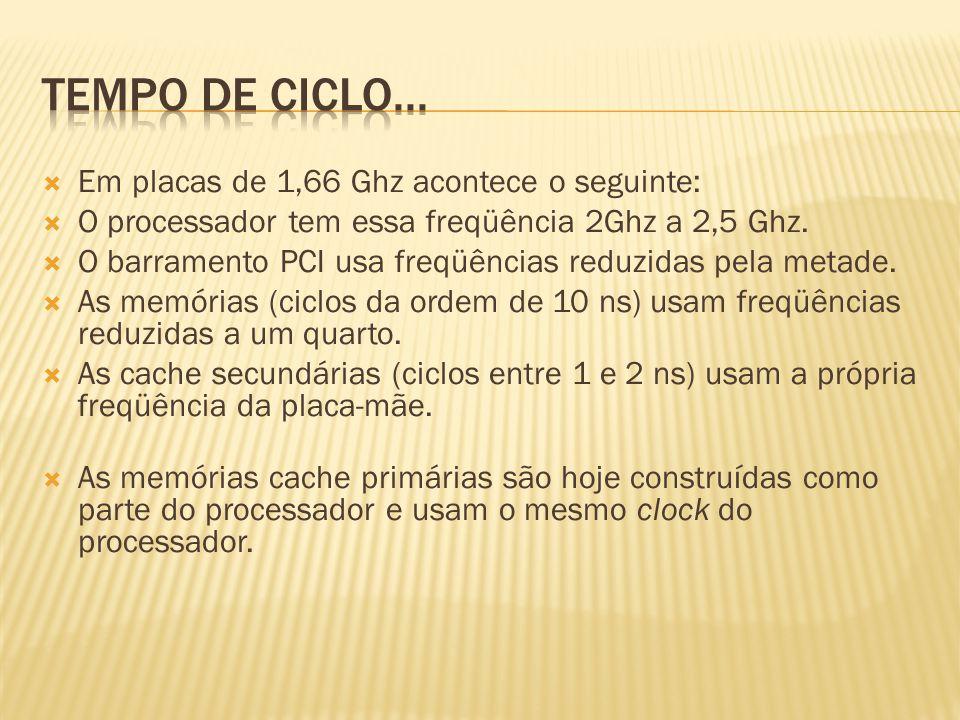 Em placas de 1,66 Ghz acontece o seguinte: O processador tem essa freqüência 2Ghz a 2,5 Ghz. O barramento PCI usa freqüências reduzidas pela metade. A