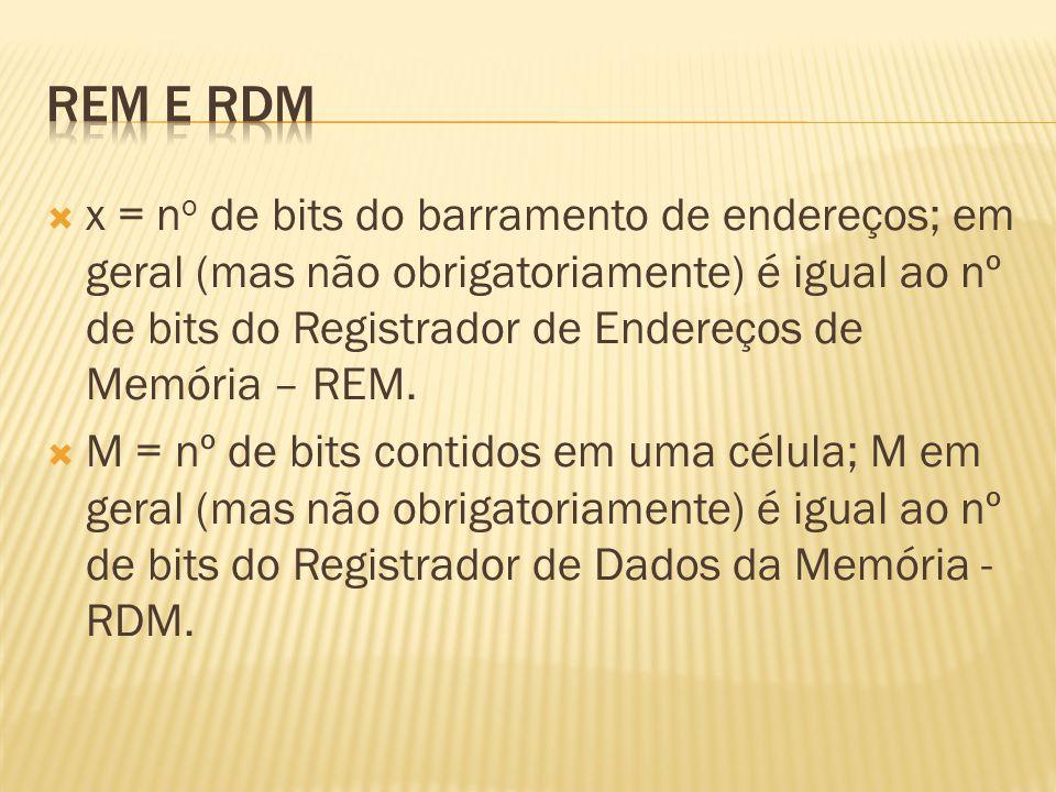 x = n o de bits do barramento de endereços; em geral (mas não obrigatoriamente) é igual ao nº de bits do Registrador de Endereços de Memória – REM. M