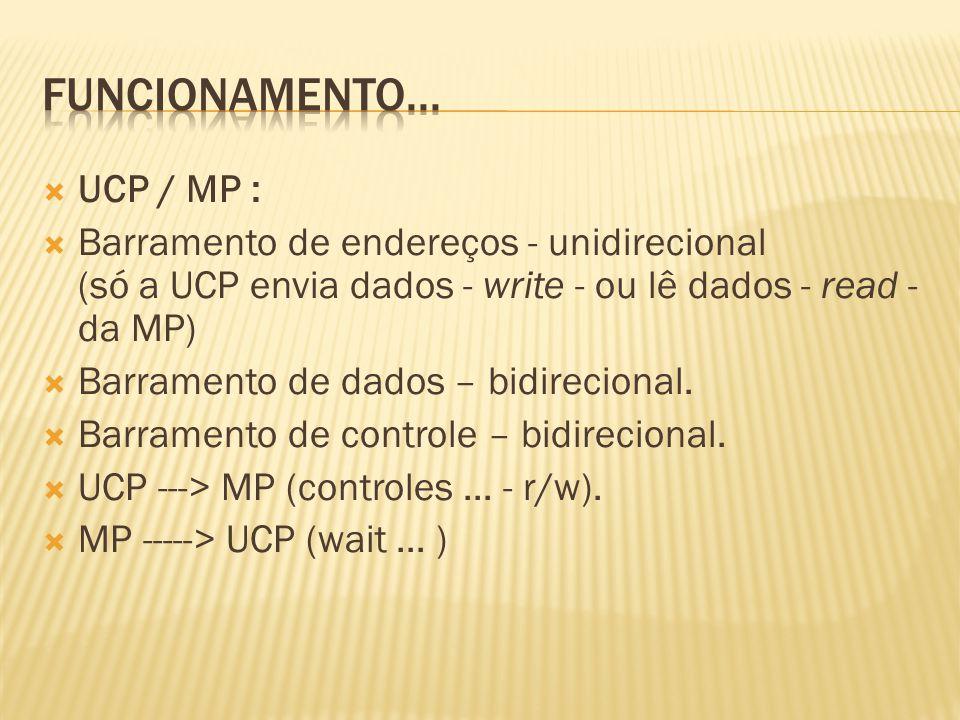 UCP / MP : Barramento de endereços - unidirecional (só a UCP envia dados - write - ou lê dados - read - da MP) Barramento de dados – bidirecional. Bar