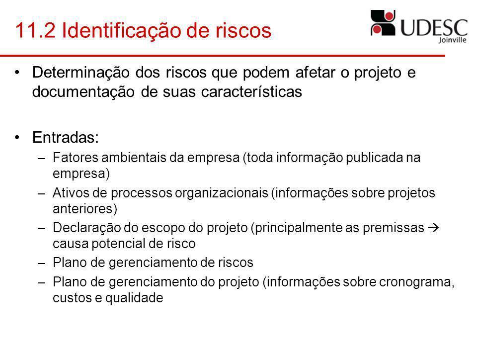 11.2 Identificação de riscos Determinação dos riscos que podem afetar o projeto e documentação de suas características Entradas: –Fatores ambientais d