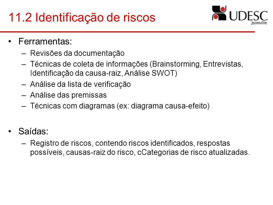 11.2 Identificação de riscos Ferramentas: –Revisões da documentação –Técnicas de coleta de informações (Brainstorming, Entrevistas, Identificação da c