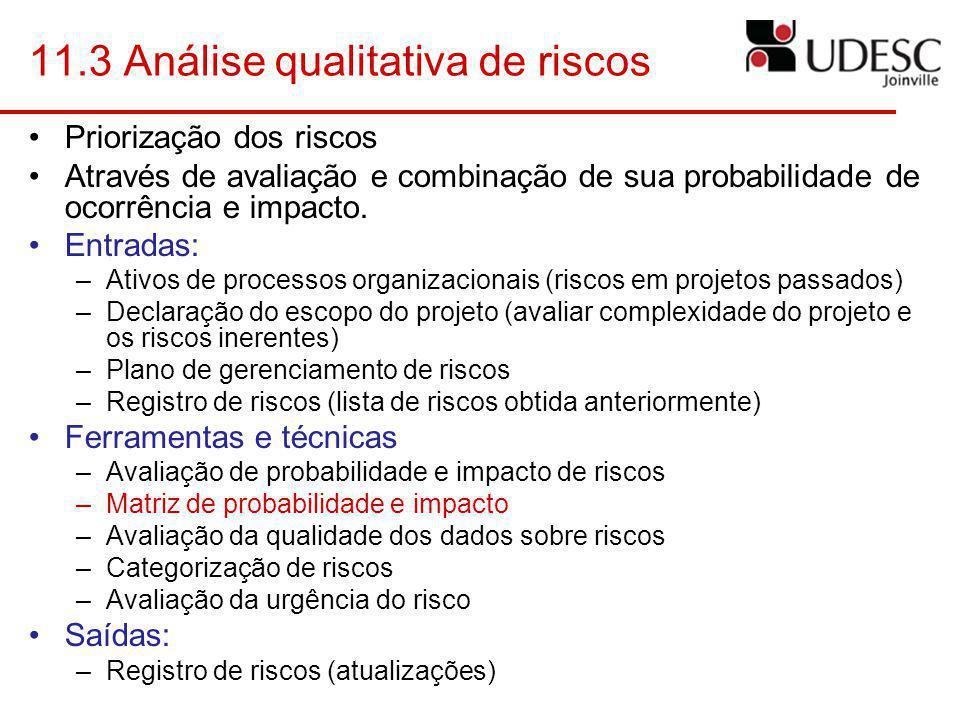 11.3 Análise qualitativa de riscos Priorização dos riscos Através de avaliação e combinação de sua probabilidade de ocorrência e impacto. Entradas: –A