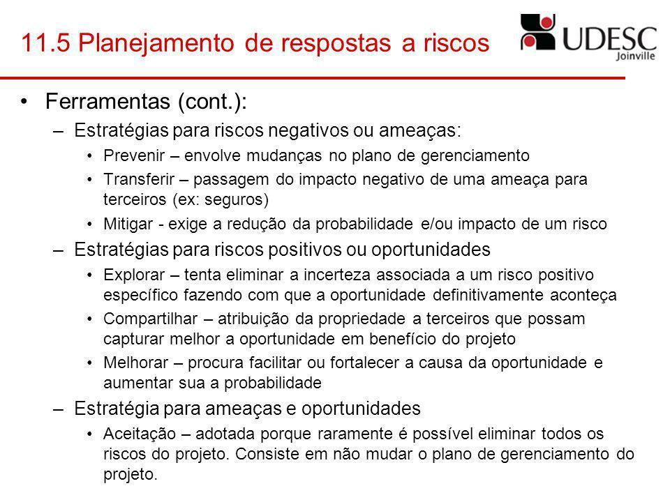 11.5 Planejamento de respostas a riscos Ferramentas (cont.): –Estratégias para riscos negativos ou ameaças: Prevenir – envolve mudanças no plano de ge