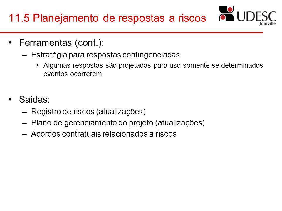 11.5 Planejamento de respostas a riscos Ferramentas (cont.): –Estratégia para respostas contingenciadas Algumas respostas são projetadas para uso some