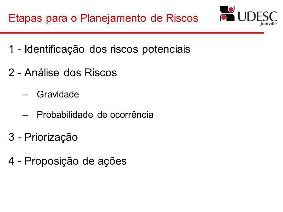 Etapas para o Planejamento de Riscos 1 - Identificação dos riscos potenciais 2 - Análise dos Riscos –Gravidade –Probabilidade de ocorrência 3 - Priori