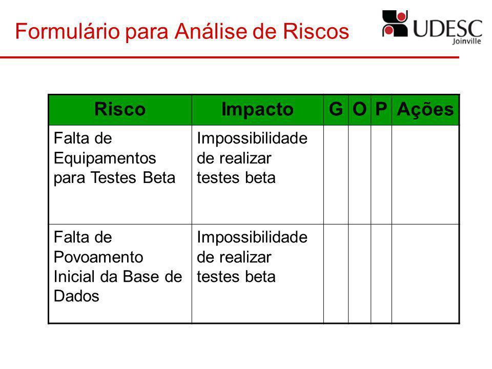 Formulário para Análise de Riscos RiscoImpactoGOPAções Falta de Equipamentos para Testes Beta Impossibilidade de realizar testes beta Falta de Povoame