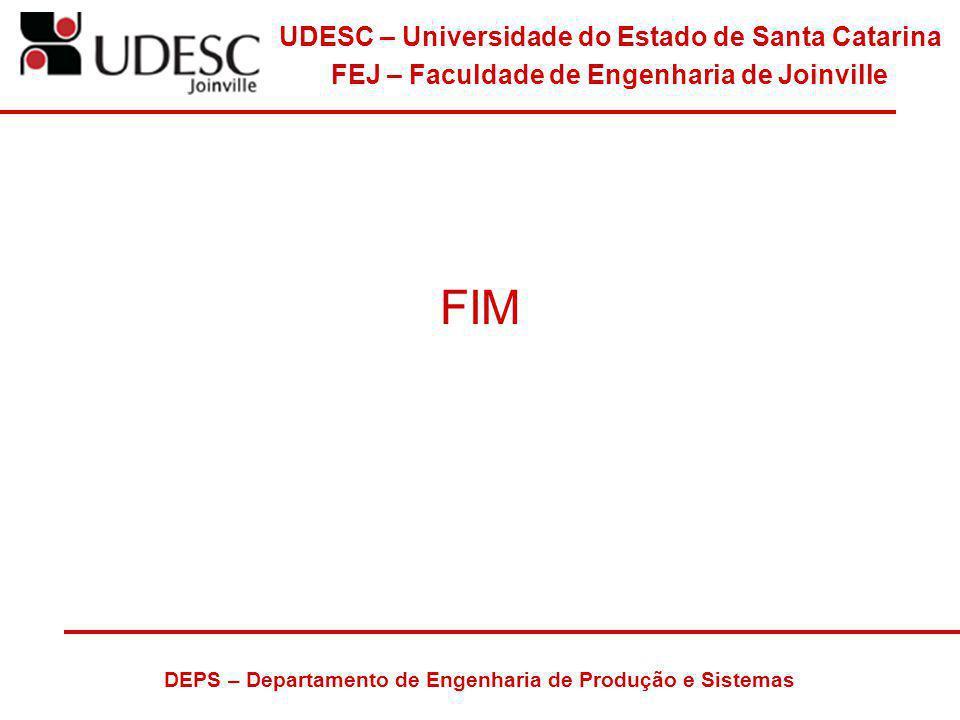 UDESC – Universidade do Estado de Santa Catarina FEJ – Faculdade de Engenharia de Joinville DEPS – Departamento de Engenharia de Produção e Sistemas F