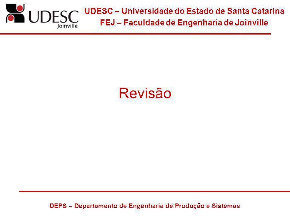 UDESC – Universidade do Estado de Santa Catarina FEJ – Faculdade de Engenharia de Joinville DEPS – Departamento de Engenharia de Produção e Sistemas R